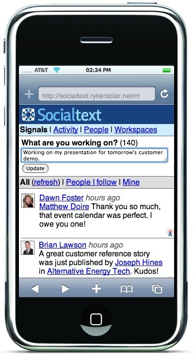 Socialtext Mobile on iPhone Signals