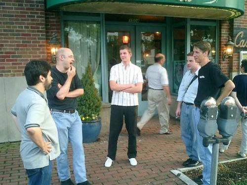 Sam Ruby, Clay Shirky, Nik Nynholm, Ross at Supernova 2003 Dinner